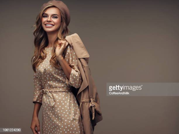 photo of young beautiful happy smiling lady wearing stylish - overcoat stock pictures, royalty-free photos & images