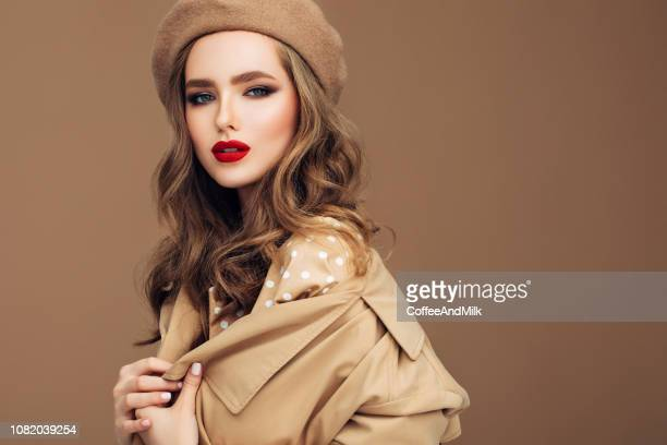 photo of young beautiful happy smiling woman wearing stylish - red lipstick stock pictures, royalty-free photos & images