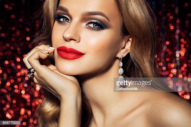 photo of young beautiful woman - earring stock pictures, royalty-free photos & images