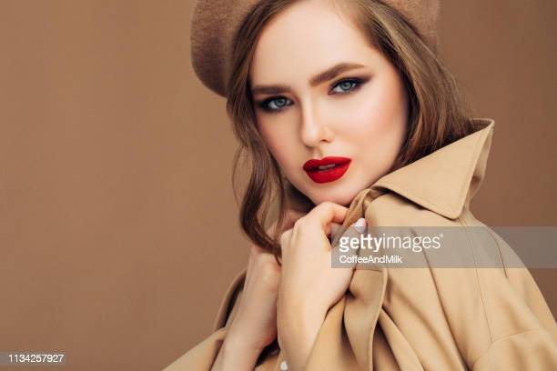 photo of young beautiful woman wearing stylish - overcoat stock pictures, royalty-free photos & images