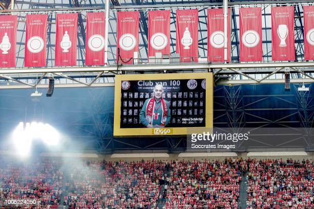Photo on the screen during one minute silence for Heinz Schilcher during the UEFA Champions League match between Ajax v SK Sturm Graz at the Johan...