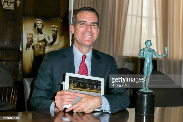 Photo op with SAG/AFTRA member Los Angeles Mayor Eric Garcetti casting his vote on January 14 2014 in Hollywood California