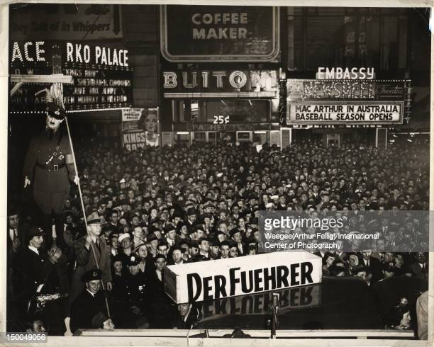 Photo originally entitiled 'Der Fueher's Birthday' depicts a group of revellers as they hang Nazi dictator Adolf Hitler in effigy New York New York...