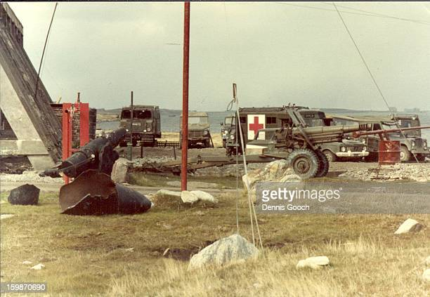 Photo possibly around Moody Brook ? November 1983 The gun in front of the Ambulance is an OTO Melara 105mm Pack Howitzer.