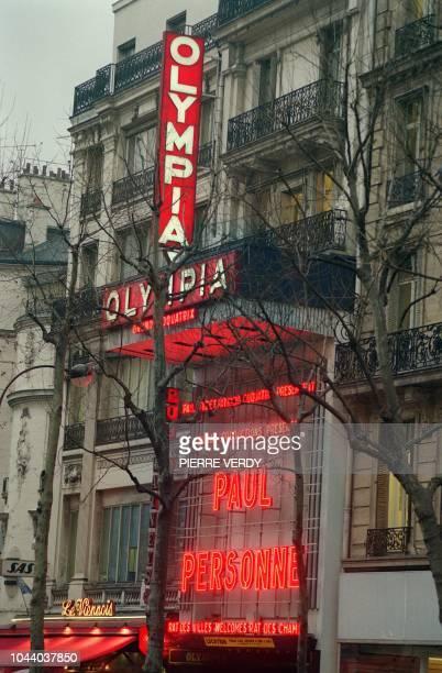 Photo prise le 07 janvier 1993 de la façade de l'Olympia la salle de spectacle mythique de Paris où ont défilé les Beatles les Rolling Stones Jacques...