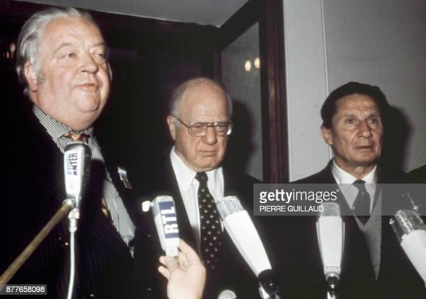 Photo prise le 08 septembre 1972 à Munich de Lord Michael Killanin d'Avery Brundage et du comte Jean de Beaumont Le comte Jean de Beaumont ancien...