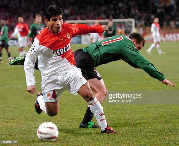 IBARRA Photo prise le 10 mars 2004 du defenseur argentin de Monaco Hugo Ibarra lors d'un match de l'UEFA face au Lokomotiv Moscow Prete pour une...