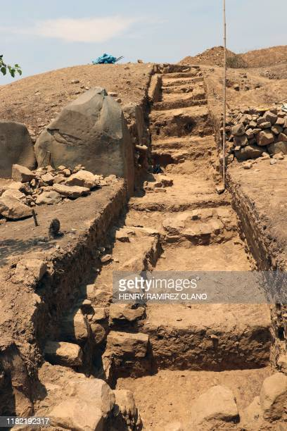 Photo released on November 13 2019 of a stairway at the El Toro excavatyion site where remains of a 3000yearold megalithic temple were unearthed in...