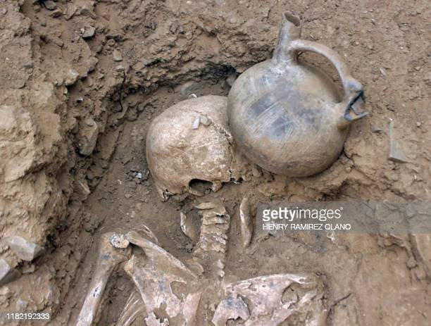 Photo released on November 13, 2019 of human remains at the El Toro excavatyion site, where a 3,000-year-old megalithic temple was unearthed, in...
