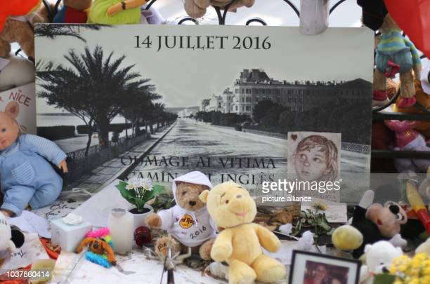 A photo reminding of the victims on the 'Promenade des Anglais' in Nice France 14 September 2016 A 31yearold Tunisian man had driven into a crowd on...
