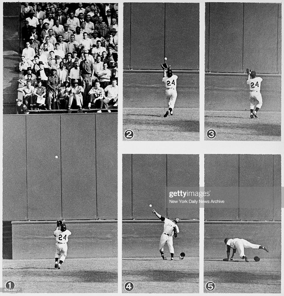 Willie Mays makes his famous catch off the bat of Vic Wertz in the 1954 World Series at the Polo Grounds. New York Giants went on to sweep the Cleveland Indians in four games. This is one of baseball's great catches.