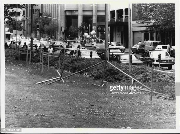 Photo series on the Sleazy Side of Hyde ParkUnsightly barricades block off flowers amp shrubs January 21 1987