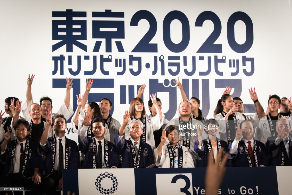 Photo session on the stage with hosts, guests, Flag ambassadors, representatives of Shizuoka, Japanese athletes during the Tokyo 2020 flag tour festival for the 2020 Games at Tokyo Metropolitan Plaza in Tokyo, July 24, 2017. Japan began its three-year countdown for the Tokyo 2020 Summer Olympics in Tokyo on Monday with image projection-mapping beamed on a building of Tokyo Metropolitan Government Office. The 2020 Games will be Japan's first summer Olympics since the 1964.