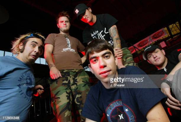 Photo session with New Found Glory shot while the band is on tour behind Sticks and Stones Top from left Ian Grushka Chad Gilbert Jordin Pundik...