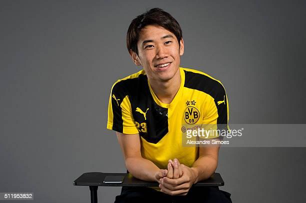photo session with Shinji Kagawa of Borussia Dortmund on February 19 2016 in Dortmund Germany