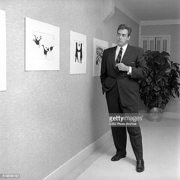 A photo shoot at the Raymond Burr Galleries 456 North Rodeo Drive Beverly Hills CA Burr with Eskimo graphic art from Cape Dorset an isolated...