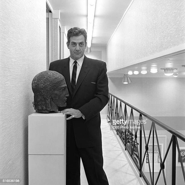 A photo shoot at the Raymond Burr Galleries 456 North Rodeo Drive Beverly Hills CA Raymond Burr with bronze Head of Apollo by sculptor FrancoisLeon...