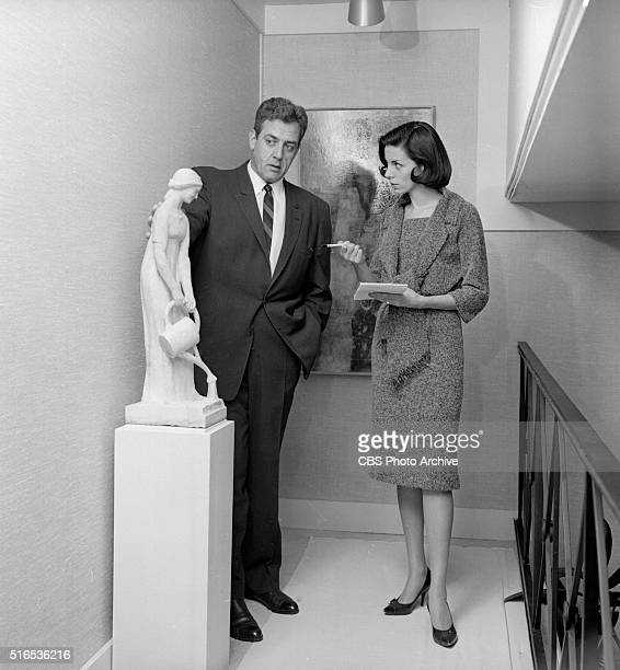 A photo shoot at the Raymond Burr Galleries 456 North Rodeo Drive Beverly Hills CA Here is Raymond Burr and Alice Raymondetti in background the...