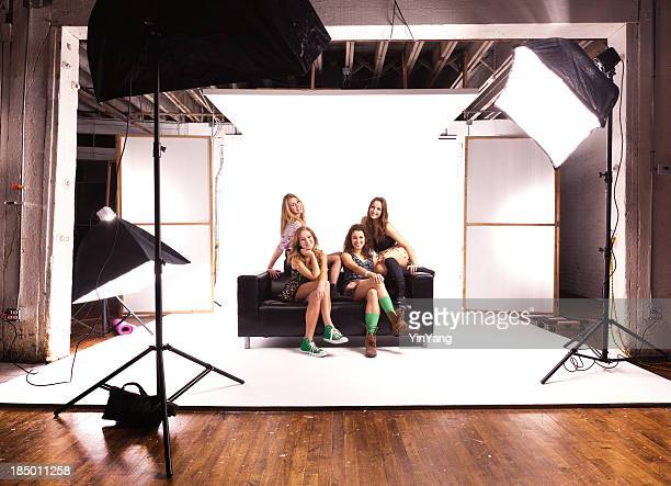 Photo Shoot Session with Young Teen Girl Models on White