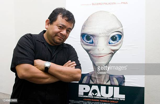 Photo shoot with Silverio Palacios for their participation in the dubbing of the movie Paulon August 24 2011 in Mexico City Mexico