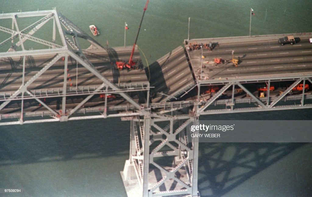 Photo shot 22 OCT 89 shows a collapsed portion of the Bay Bridge at Oakland after the earthquake that rocked northern California.
