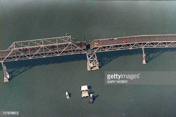 Photo shot on October 22, 1989 shows a collapsed portion of the Bay Bridge at Oakland after the earthquake that rocked northern California.