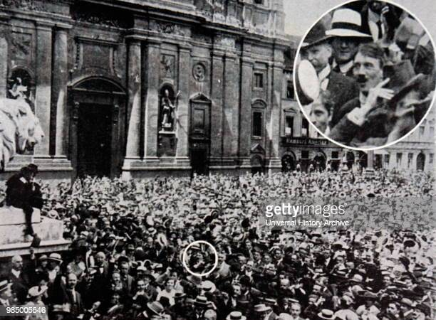 Photo showing Adolf Hitler in a crowd taken by Munich photographer Heinrich Hoffmann at a rally in support of war against Russia in MunichÕs...