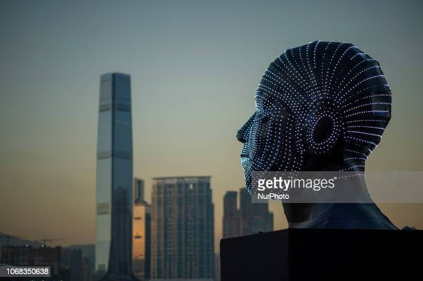 A photo showing Talking Heads by Viktor Vicsek of Hungary on display during 2018 Hong Kong Pulse Light Festival in Hong Kong China 4 December 2018