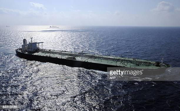 Photo shows 333 metrelong French oil carrying supertanker the Front Comanche on January 17 2009 The ship is travelling through the Gulf of Aden under...