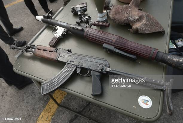 Photo shows a AK47 Kalashnikov assault rifle and a RPG-7 Kalachnikov grenade launcher on display during a visit at French army 4th Special Forces...