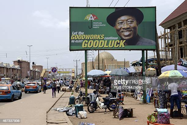 Photo shows a campaign billboard of Nigerian President Goodluck Jonathan and candidate of the ruling Peoples Democratic Party in downtown Akure Ondo...