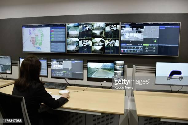 Photo shows a control room for self-driving vehicles running on the premises of Panasonic Corp.'s headquarters in Kadoma, western Japan, on Oct. 17,...