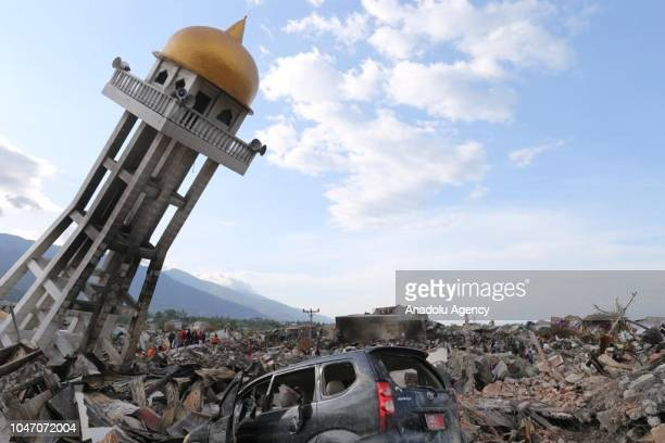A photo shows a destroyed mosque which was dragged 300 metres due to an earthquake measuring 77 SR and the tsunami wave in Palu Central Sulawesi...