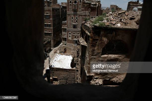 Photo shows a historic building after it was collapsed partially due to the heavy rains in the UNESCO World Heritage-listed Old Sana'a City, on...