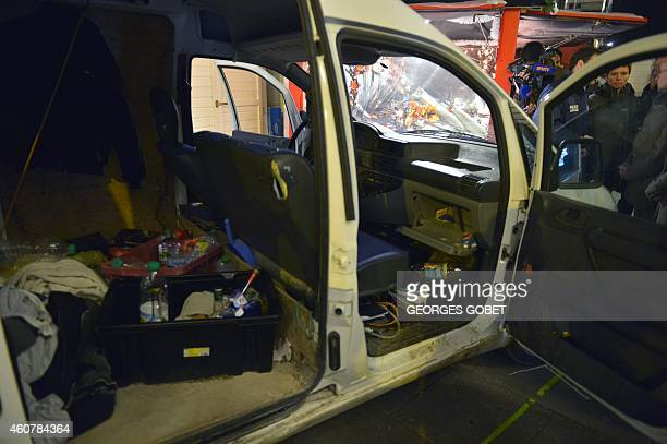 Photo shows a partial view of the interior of the van a driver used to plough into a Christmas market in the western French city of Nantes on...