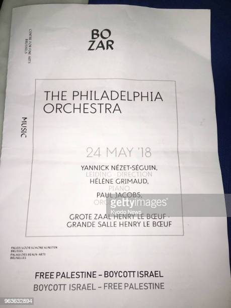 Photo shows a proPalestinian flyer handed near the venue of a Philadelphia Orchestra concert in Brussels on May 24 the first day of the orchestra's...