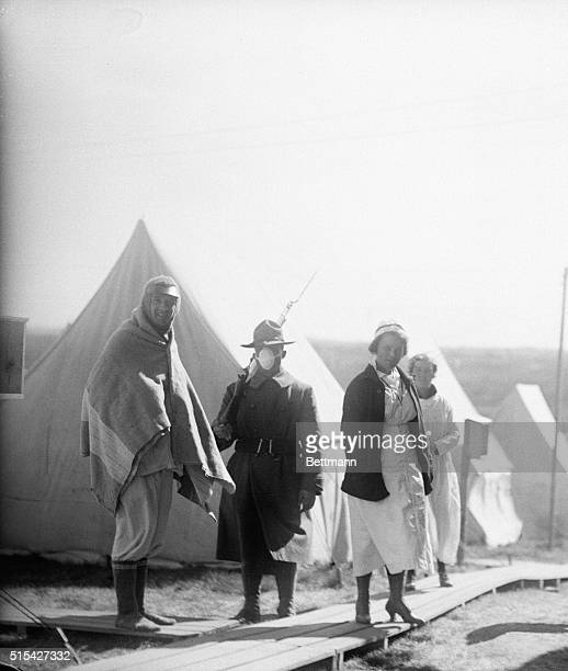 Photo shows a scene in the influenza Camp at Lawrence Maine where patients are given fresh air treatment this extreme measure was hit upon as the...