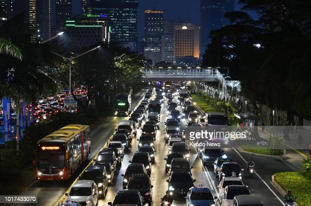 Photo shows a street in central Jakarta congested with cars on Aug 13 2018 ==Kyodo