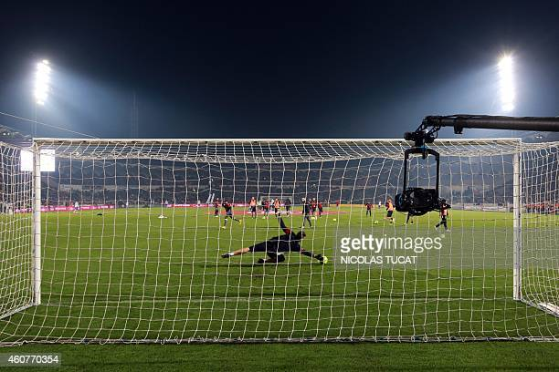 A photo shows a TV camera during the French L1 football match between Girondins de Bordeaux and Lyon on December 21 2014 at the ChabanDelmas stadium...