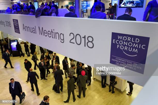 A photo shows a view inside the Congress Centre during the annual World Economic Forum on January 23 2018 in Davos eastern Switzerland / AFP PHOTO /...