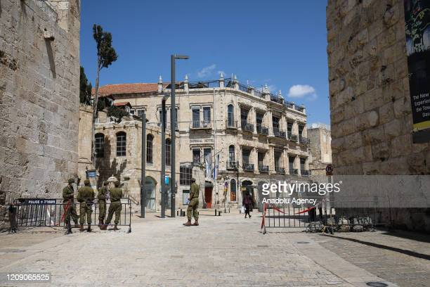 Photo shows a view of deserted Omar Ibn al-Hattab Square and its surroundings as part of coronavirus measures in East Jerusalem, on April 3, 2020.