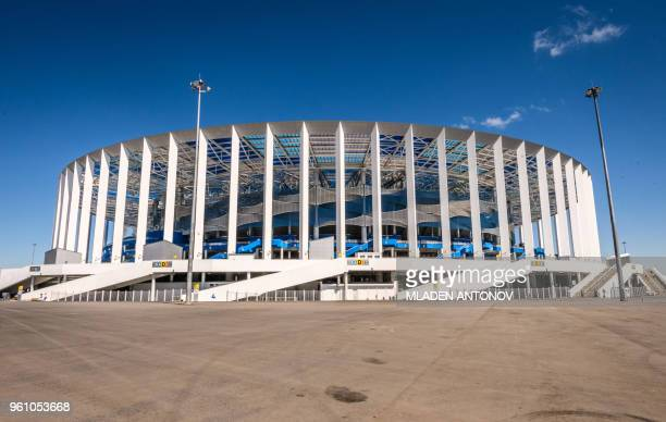 A photo shows a view of the Nizhny Novgorod Arena in Nizhny Novgorod on May 21 2018 The stadium will host four group matches Round of 16 game and a...