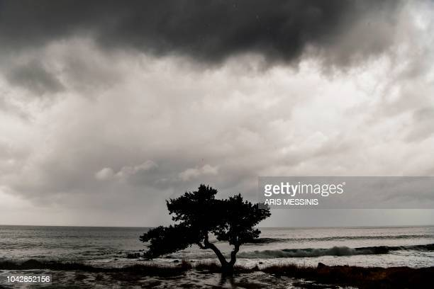 TOPSHOT A photo shows a view of the sea in southern Athens during bad weather on September 29 2018