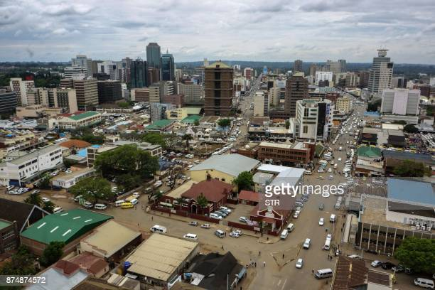A photo shows a view of the Zimbabwean capital Harare on November 16 a day after the military took power and announced plans to arrest 'criminals'...