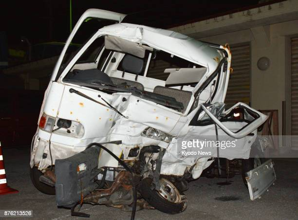 Photo shows a wrecked light truck at a police station in Naha Okinawa Prefecture on Nov 19 after it collided with a larger truck driven by an...