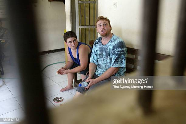 Photo shows alleged heroin traffickers Martin Eric Stephens of Wollongong and Renee Lawrence talking in POLDA Bali's police headquarters after being...