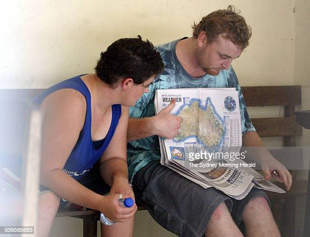 Photo shows alleged heroin traffickers Martin Eric Stephens of Wollongong and Renee Lawrence reading newspapers form Australia in POLDA Bali's police...