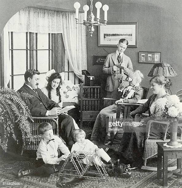 Photo shows an American family informal gathering at home Photograph pre WorldWar I