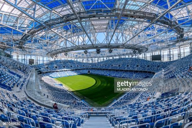 A photo shows an interior view of the Nizhny Novgorod Arena in Nizhny Novgorod on May 21 2018 The stadium will host four group matches round of 16...