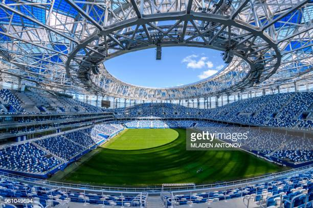 TOPSHOT A photo shows an interior view of the Nizhny Novgorod Arena in Nizhny Novgorod on May 21 2018 The stadium will host four group matches round...